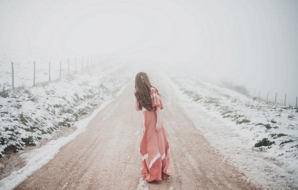 Картинка girl, woman, snow, model, fog, portrait