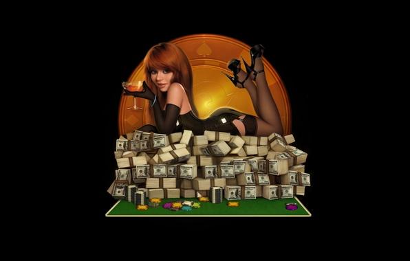 Картинка девушка, бокал, деньги, чулки, фишки, латекс, доллары, казино