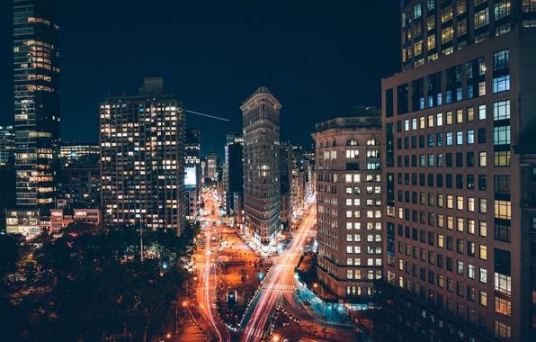 Картинка свет, ночь, город, огни, дома, выдержка, США, Нью Йорк, улицы