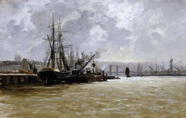 Картинка корабль, дома, картина, причал, морской пейзаж, Карлос де Хаэс, Порт Руана