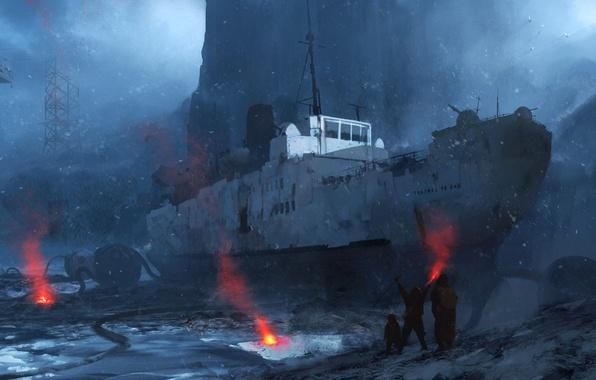 Картинка снег, горы, камни, скалы, берег, корабль, вертолет, art, выжившие, сигнальные огни