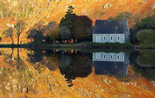 Картинка осень, вода, деревья, природа, озеро, отражение, гора, склон, домик