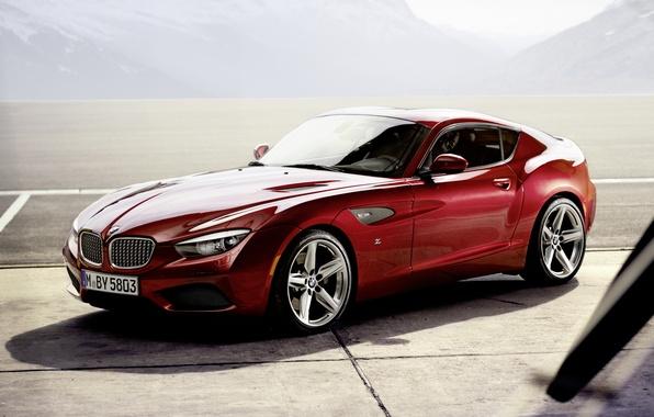Картинка горы, красный, купе, тень, BMW, БМВ, Coupe, передок, Zagato, Загато