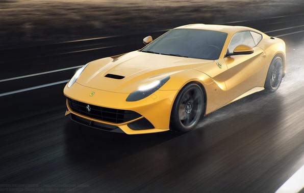 Картинка Ferrari, Speed, Front, Sun, Rain, Yellow, Road, Berlinetta, F12