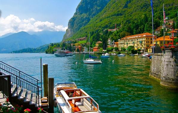 Картинка лес, горы, природа, озеро, дома, яхта, катер, Италия, Italy, архитектура., Комо, Como