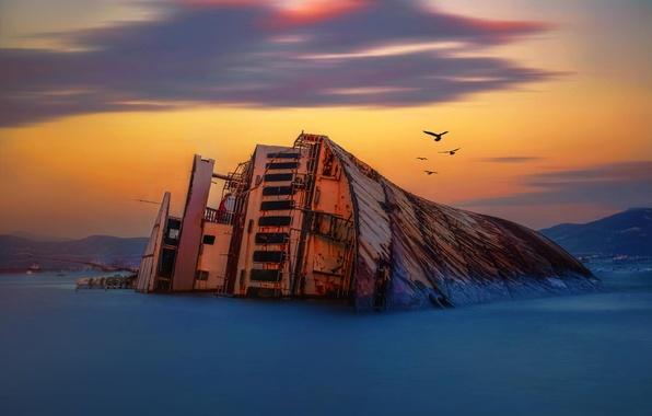 Картинка море, рассвет, берег, корабль, мель, кораблекрушение