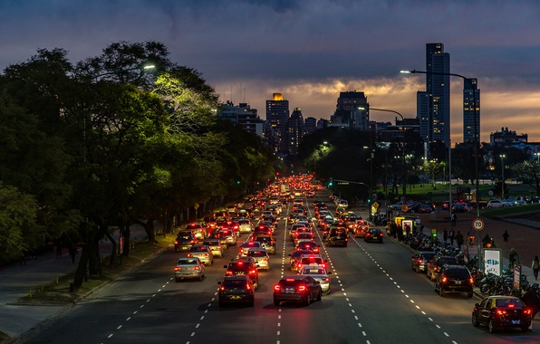 Картинка twilight, cars, Argentina, night, rush, people, dusk, traffic, skyscrapers, cityscape, Buenos Aires, everyday life, urban …