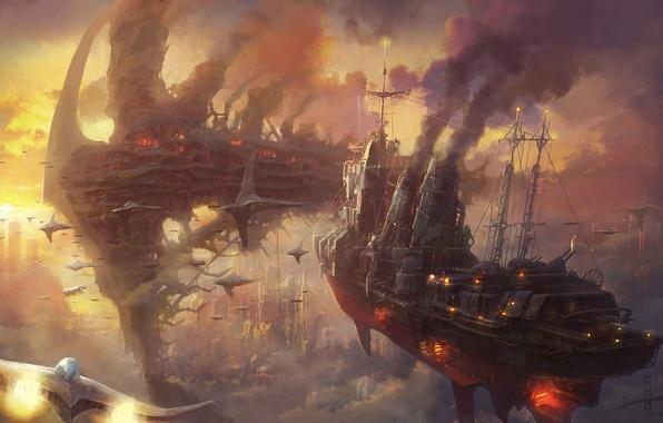 Картинка облака, закат, город, дым, корабли, арт, стимпанк, армада, в небе, Minseub Jung