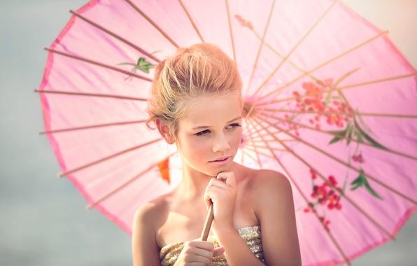 Картинка зонт, девочка, Julia Altork, Fille en Rose