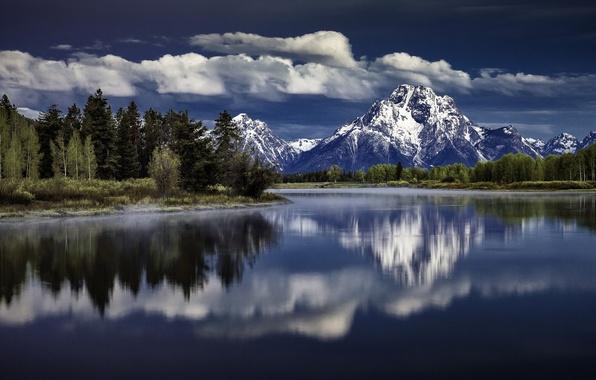 Картинка отражение, Вайоминг, Wyoming, Гранд-Титон, Grand Teton National Park, Mount Moran, Snake River, Гора Моран, река …