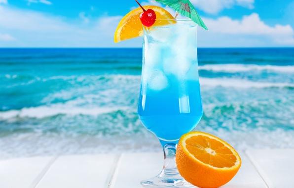 Картинка лед, море, пляж, коктейль, фрукты, fresh, blue, orange, drink, cocktail, fruits, tropical, curacao