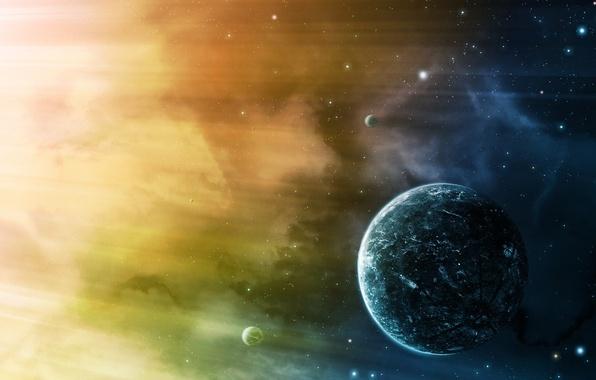 Картинка light, stars, planets, colour, sci fi