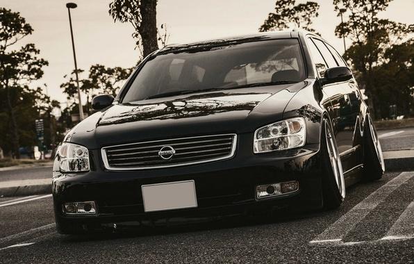 Картинка Машина, Тюнинг, Черная, Ниссан, Japan, Nissan, Black, Style, Tuning, Stance, Stagea