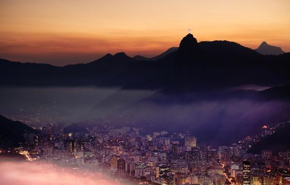 Картинка горы, город, огни, Рио-де-Жанейро, Rio de Janeiro