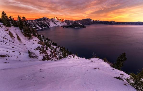 Картинка зима, озеро, утро, Орегон, США, штат, Крейтер
