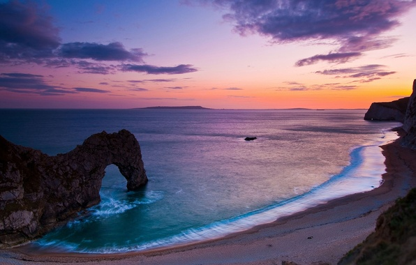 Картинка море, небо, вода, природа, галька, скала, океан, скалы, берег, побережье, пейзажи, вечер, арка, арки