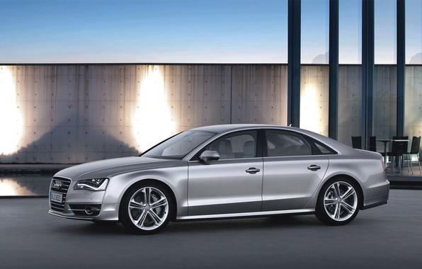 Картинка Audi, Ауди, Машина, Серый, Седан, Автомобиль, Вид сбоку