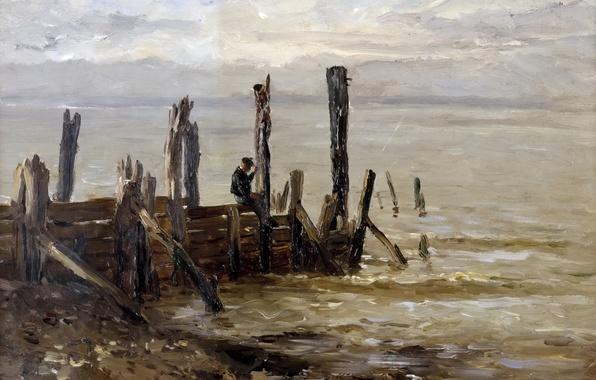Картинка картина, причал, морской пейзаж, Карлос де Хаэс, Море в Виллервиле