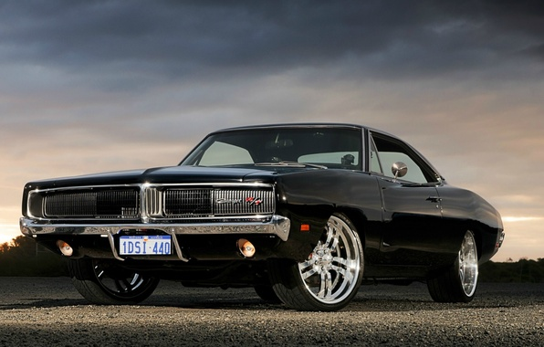 Картинка Черный, Додж, Dodge, Black, Charger, R/T, Muscle Car, Мускул Кар, '1969, Заряд, Комплектация R/T