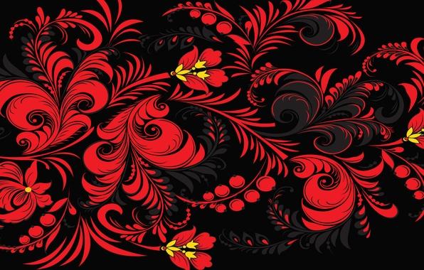 Картинка цветы, красный, фон, узоры, узор, Россия, Хохлома