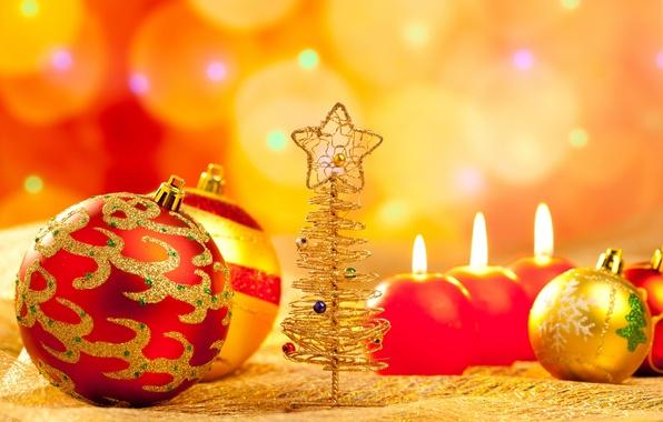 Картинка шарики, праздник, новый год, рождество, свечи