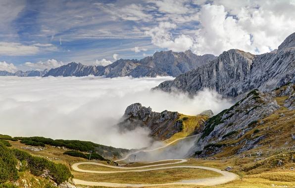 Картинка дорога, небо, облака, деревья, горы, склоны, вершины, Германия, Бавария, Альпы