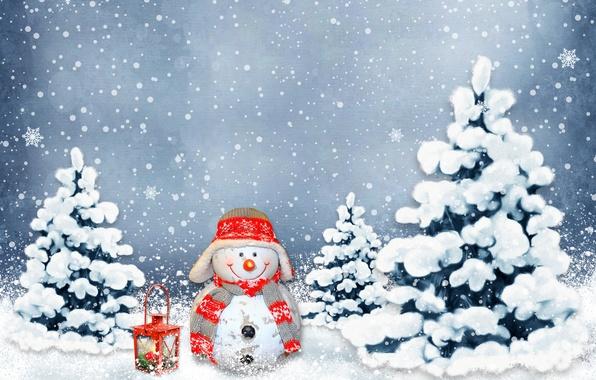Картинка зима, шарики, снег, украшения, праздник, Новый Год, Рождество, снеговик, Christmas, New Year