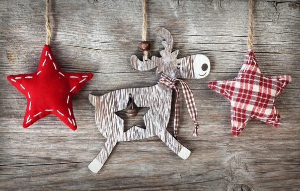 Картинка зима, звезды, праздник, доски, олень, веревки, Рождество, звёздочки, фигурки, деревянные, тканевые