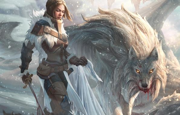 Картинка взгляд, девушка, оружие, кровь, волк, хищник, меч, арт