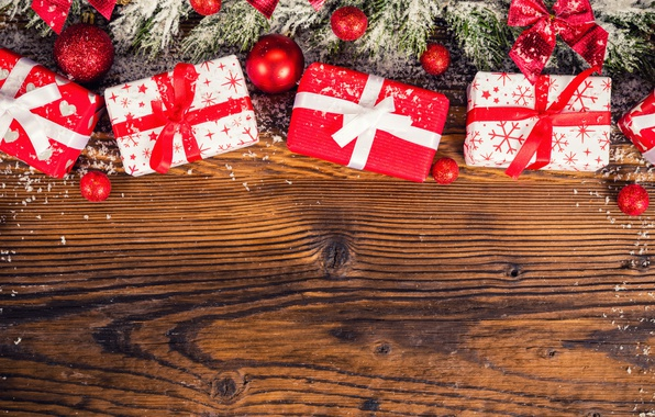 Картинка снег, красное, шары, елка, Рождество, подарки, Новый год, бант, Christmas, winter, snow, New Year, bow, …