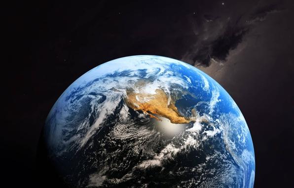 Фото обои облака, материки, планета, Земля