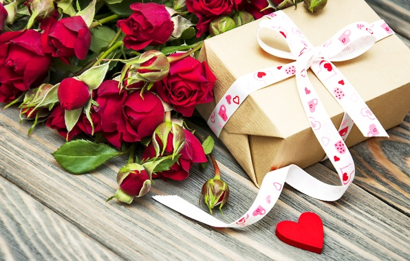 Фото обои цветы, подарок, Valentine's Day, романтика, любовь, розы, romantic, бантик