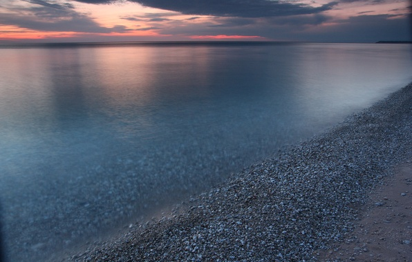 Картинка небо, закат, тучи, озеро, берег, вечер, Мичиган, USA, США, sky, coast, sunset, clouds, lake, evening, …