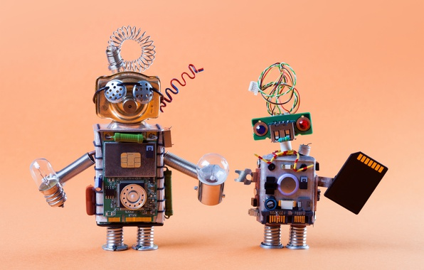 Фото обои винтаж, роботы, cyberspace, лампочки, фигурки, technology, плата, процессор, транзисторы, боке wallpaper., сим карта micro sd, ...