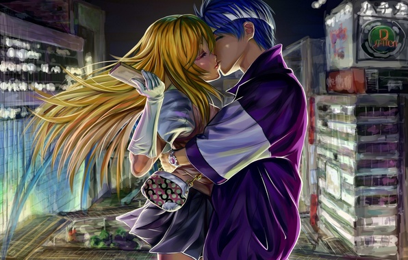 Картинка девушка, ночь, город, дома, поцелуй, аниме, арт, телефон, парень, двое, индекс волшебства, to aru majutsu …