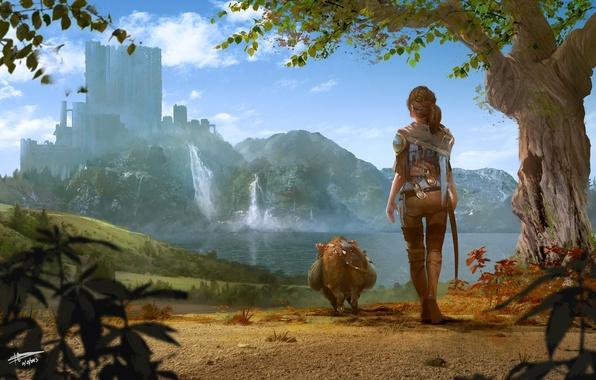 Картинка девушка, пейзаж, свинья, Richard Sashigane