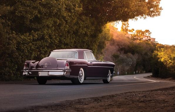 Картинка дорога, Lincoln, фон, Continental, вид сзади, 1956, Линкольн, Mark II, Континентал