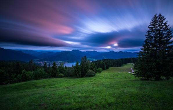 Картинка закат, горы, озеро, Германия, Бавария, Альпы, Germany, Bavaria, Bavarian Alps, Баварские Альпы, Tegernsee, Lake Tegernsee, …