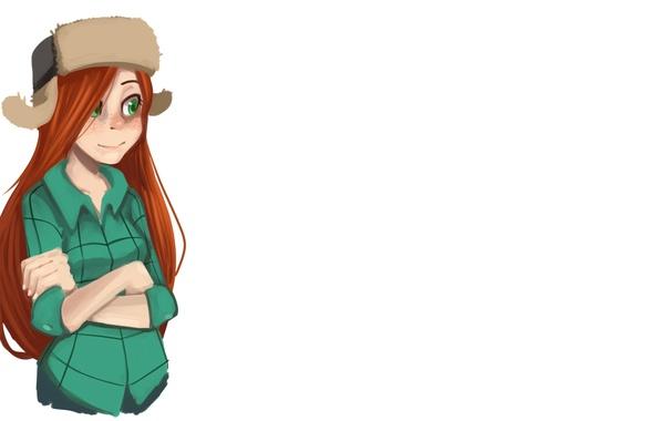 Картинка девушка, шапка, арт, рыжие волосы, ушанка, зелёные глаза, Gravity Falls, Wendy Corduroy
