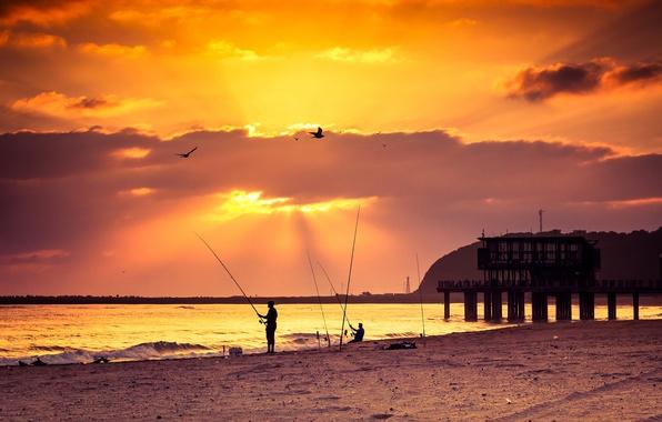 Картинка beach, sea, sunset, pier, fishing