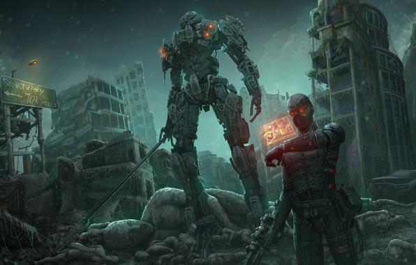 Картинка город, фантастика, робот, меч, арт, руины, киборг