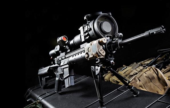 Картинка прицел, винтовка, чёрный фон, снайперская, Mk 12, Special Purpose Rifle