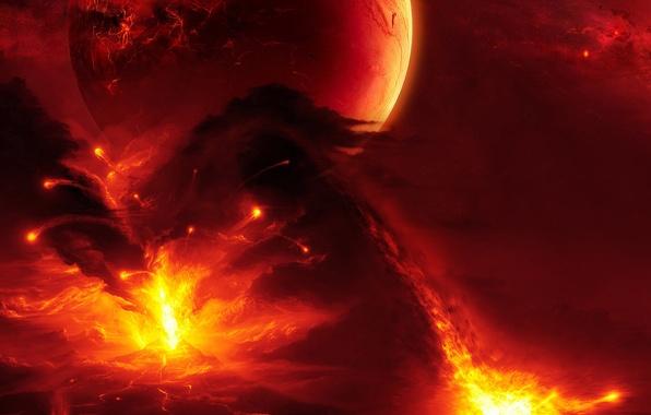 Картинка стихия, вулкан, извержение, лава, буйство