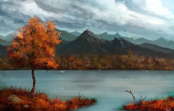 Картинка осень, горы, птицы, тучи, река, дерево, арт