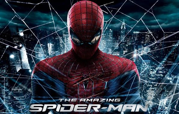 Фото обои новый человек паук, the amazing spider man, city, web