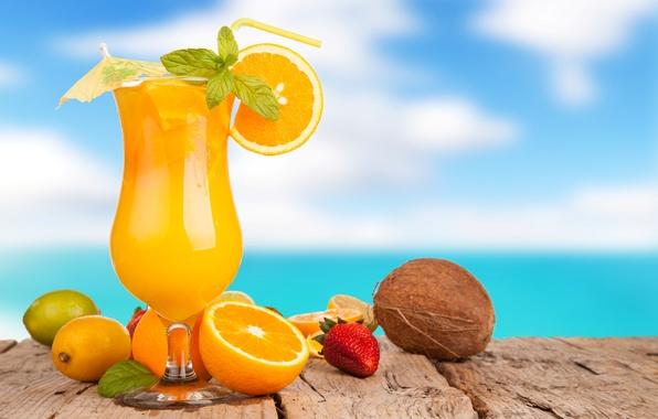 Картинка лето, зонтик, лимон, бокал, кокос, апельсины, клубника, сок, лайм, трубочка, напиток, апельсиновый