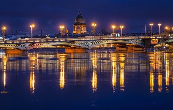 Картинка ночь, мост, огни, река, фонари, Russia, питер, санкт-петербург, нева, St. Petersburg
