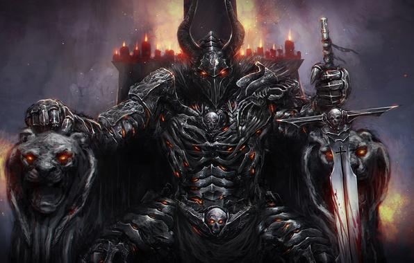Картинка огонь, темный, меч, доспехи, свечи, шлем, рыцарь, львы, трон, рогатый, подлокотники