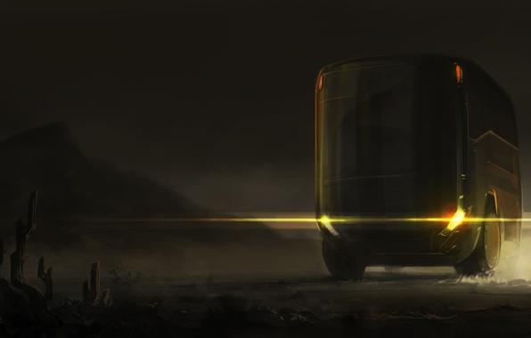 Картинка свет, тишина, автобус, фар, ночью, мчится, SID75, Vitaliy Smyk, слепит, пустыне, buss