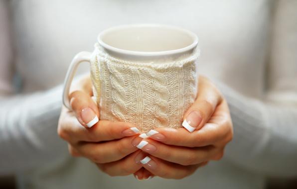 Картинка зима, руки, кружка, winter, cup, какао, drink, hands, варежка
